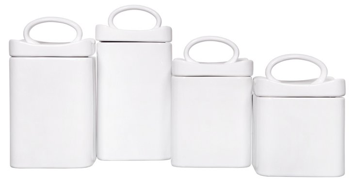 S/4 Assorted Canisters w/ Lids, White