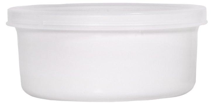 S/2 White Bakers w/ Lids, 16 Oz