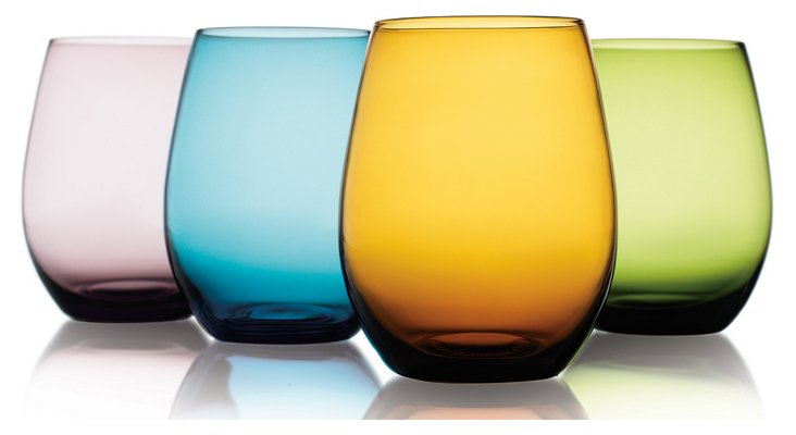 S/4 Assorted Stemless Wineglasses