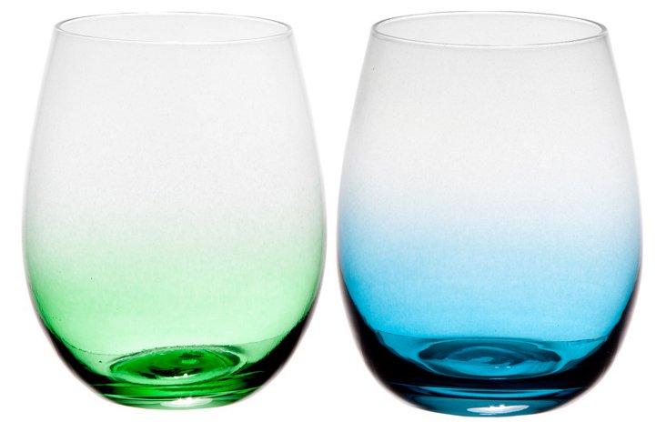 Asst of 12 Koi Stemless Wineglasses
