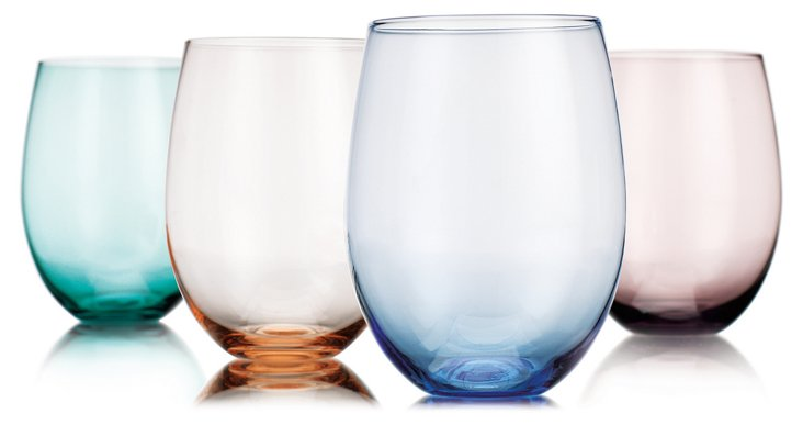 Asst of 4 Tuscan Stemless Wineglasses