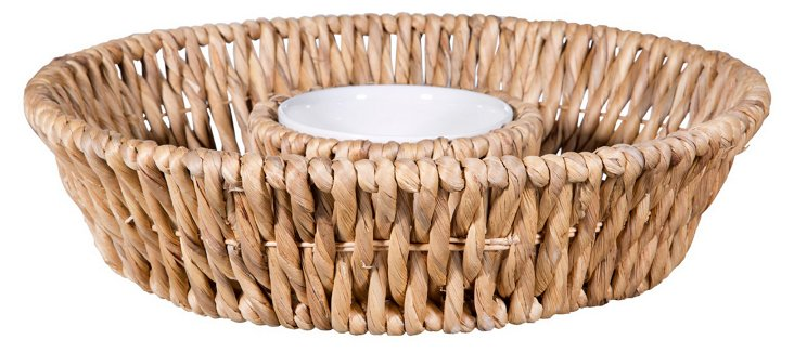 Reed-Wrapped Chips & Dip Server, Round