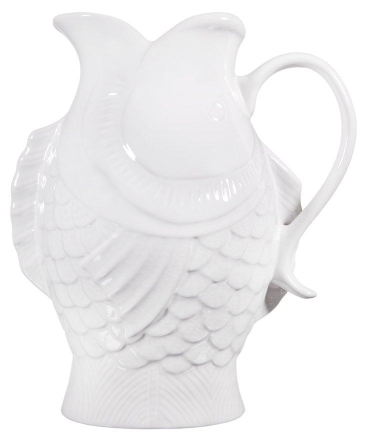 Ceramic Fish Pitcher, White