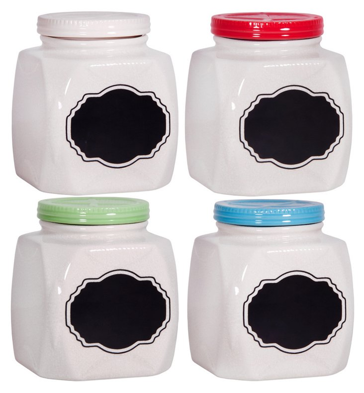 S/4 Chalk-It-Up Square Canisters, Multi