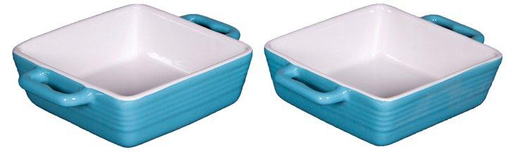 S/2 Mini Ceramic Bakers, Aqua