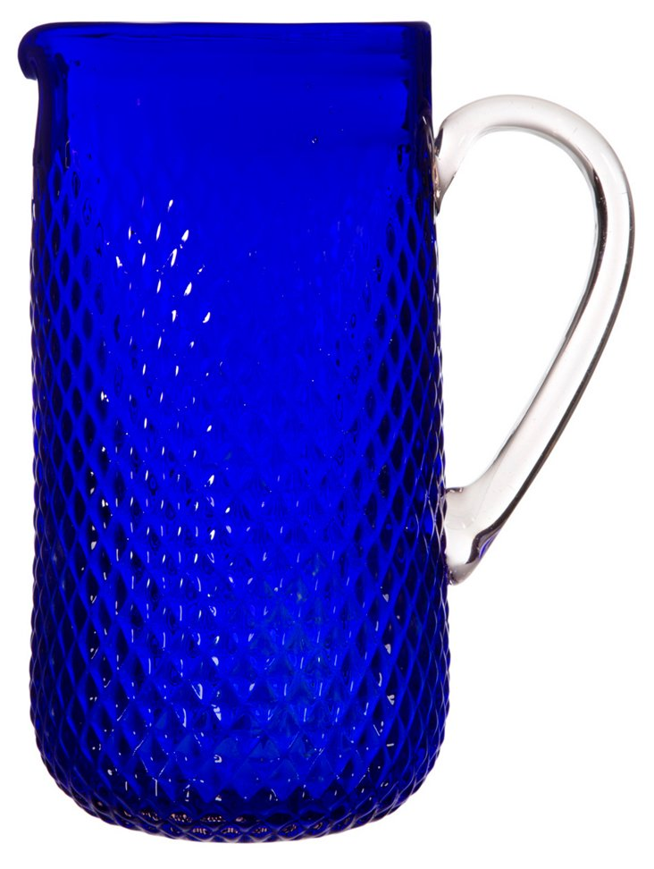 Glass Pitcher, Blue