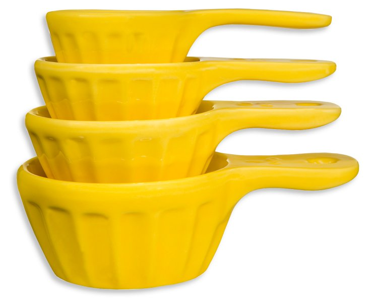 S/4 Nested Measuring Cups, Yellow