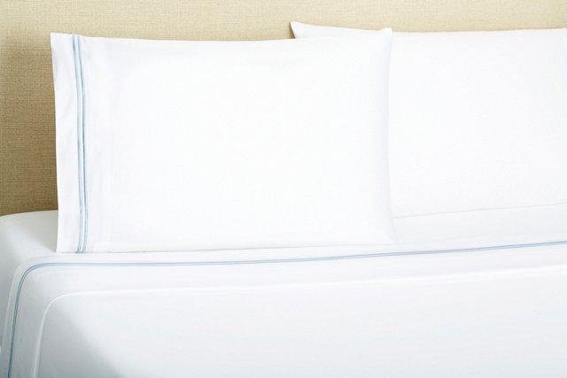 2-Striped Embroidered Sheet Set, Blue