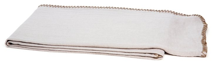 Whipstitch Linen Throw, Ivory/Brown