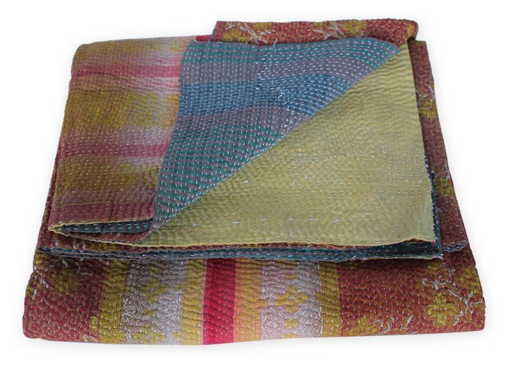 Hand-Stitched Kantha Throw, Claire
