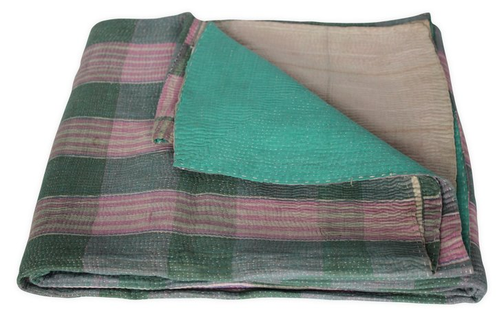 Hand-Stitched Kantha Throw, Nutan