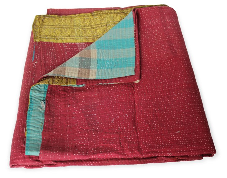 Hand-Stitched Kantha Throw, Adrienne