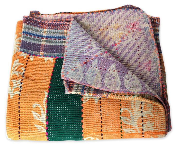 Hand-Stitched Kantha Throw, Ashley