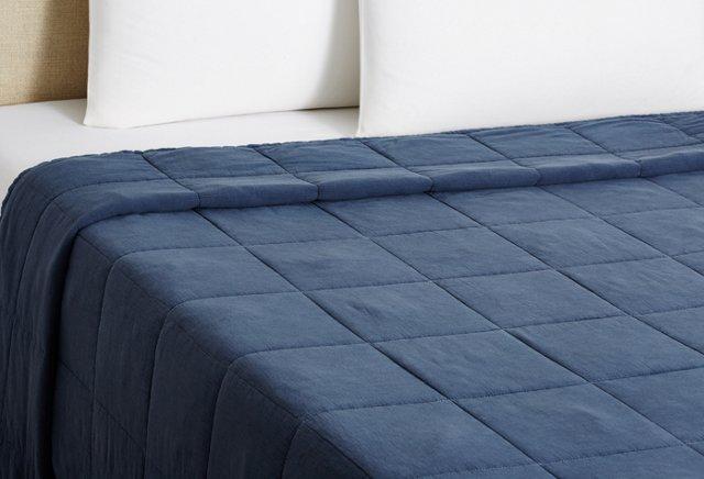 Stonewash Vagabond Cotton Blanket, Blue