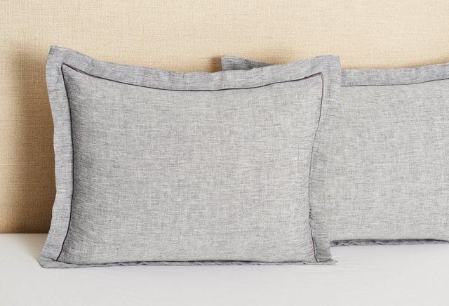S/2 Linen Hemstitch Standard Shams, Gray