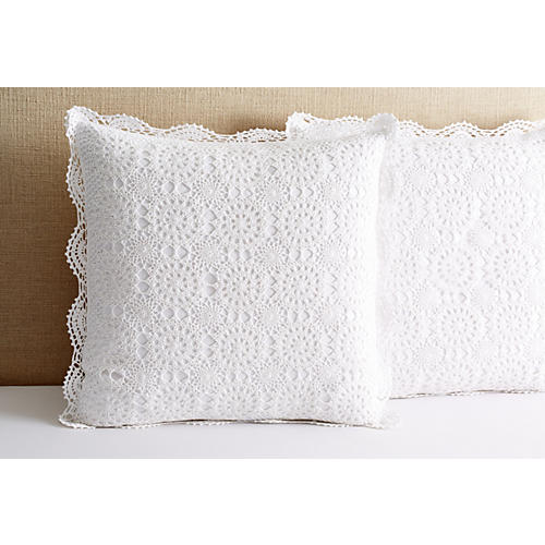 S/2 Crochet Euro Shams, White