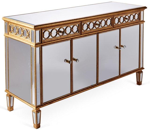 Gabriel Mirrored Console Cabinet, Gold