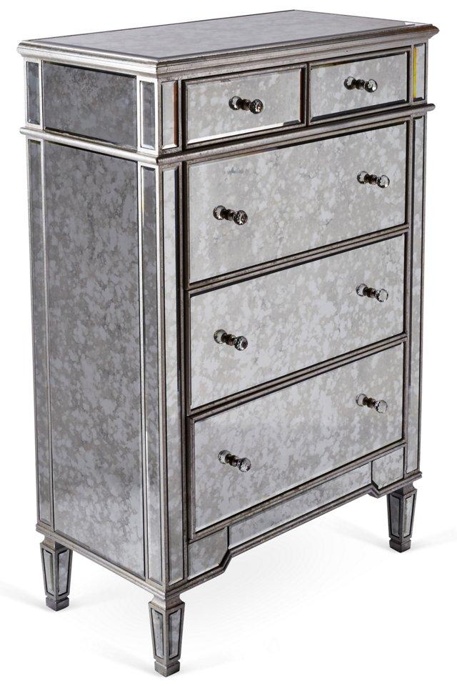 Tallulah Antiqued Dresser, Silver