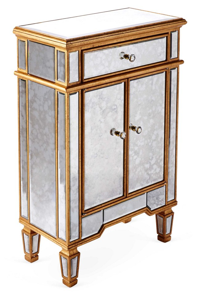 Rhys Antiqued Cabinet, Gold