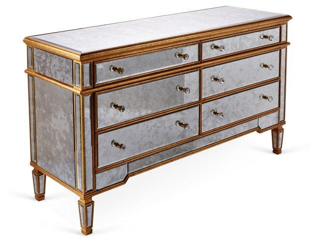 Mathilda Antiqued Dresser, Gold