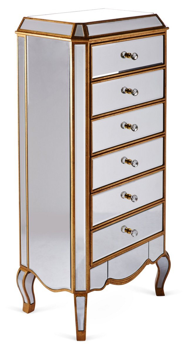 Dahlia Mirrored Chest of Drawers, Gold