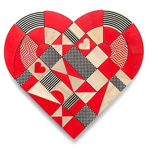 Heart Puzzle, Red/Black