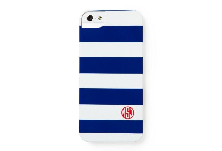 Custom Stripe iPhone Case, Blue/White