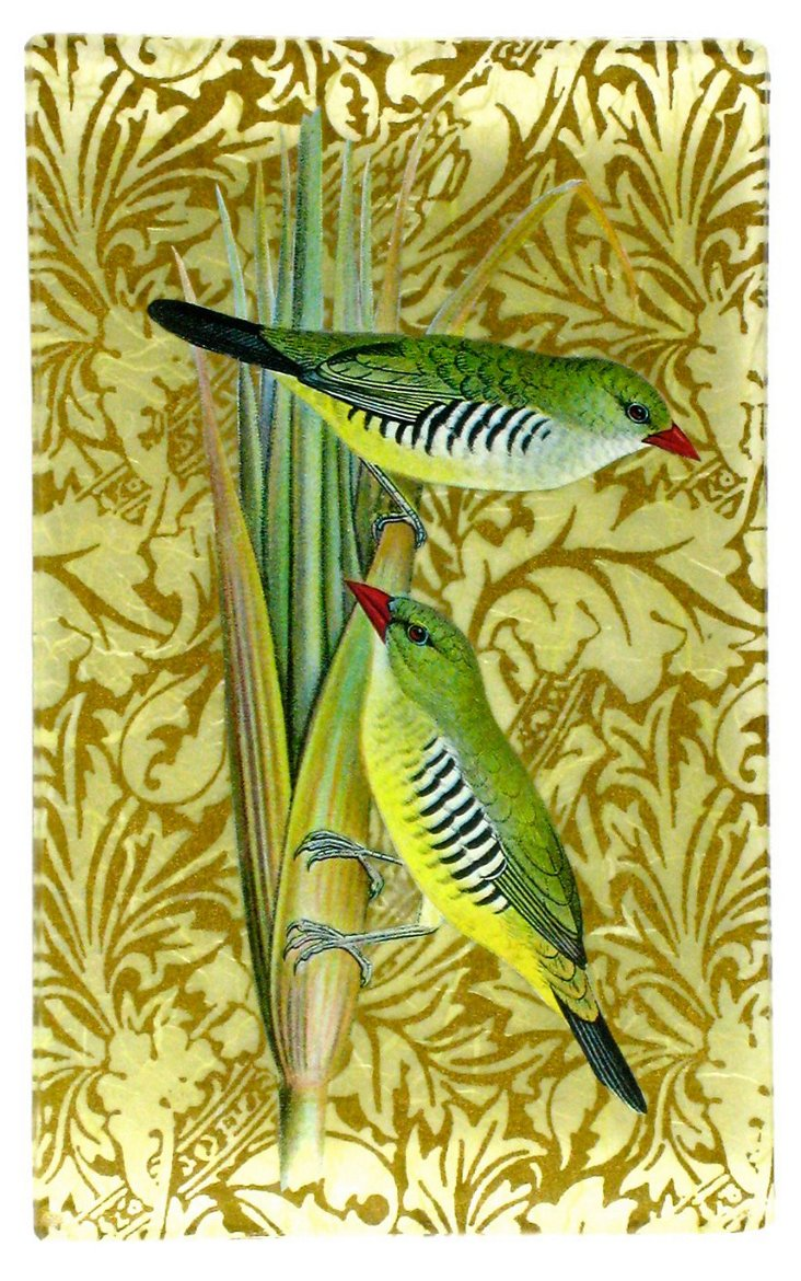 5x8 Two Striped Finches Decoupage Tray