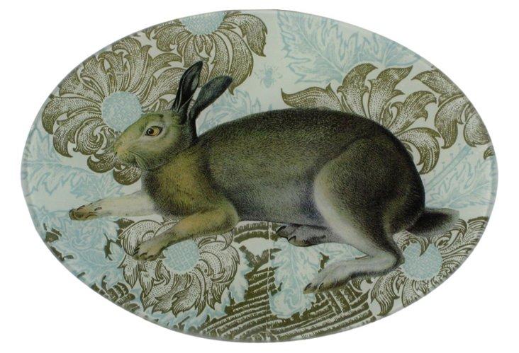 7x10 Oval Rabbit Decoupage Tray