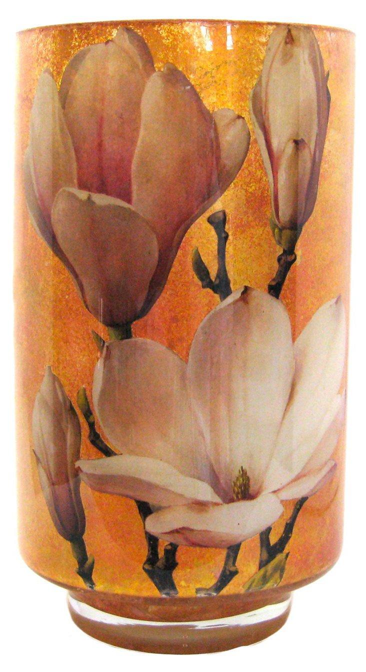 "12"" Magnolia Decoupage Vase"