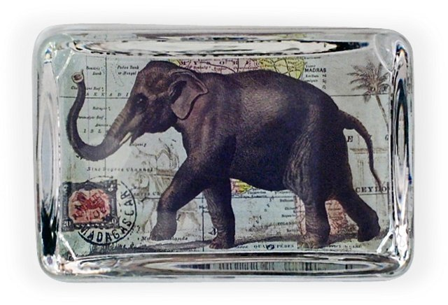 Large Crystal Paperweight, Elephant