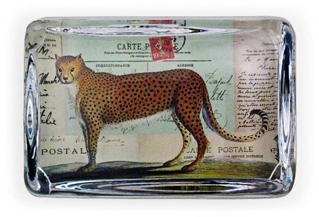 Large Crystal Paperweight, Cheetah