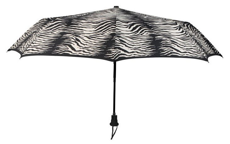 Zebra Compact Umbrella, Black/White