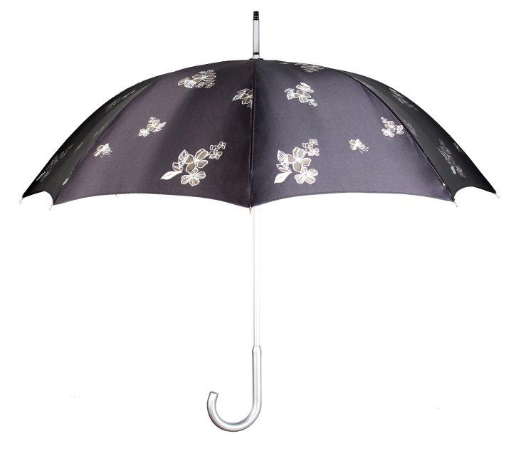 Floral Stick Umbrella, Black/White