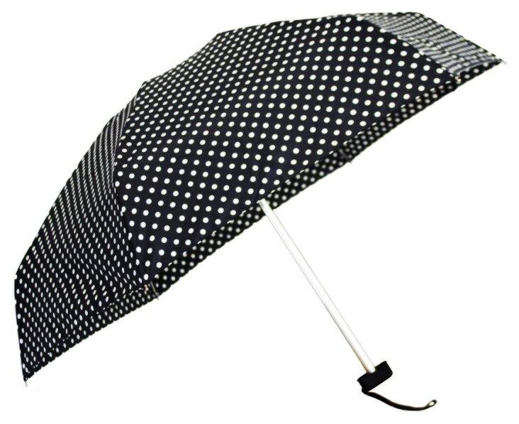 Compact Dots Umbrella, Black/White