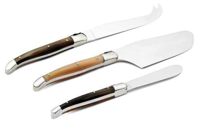3-Pc Cheese Set, Solid Horn