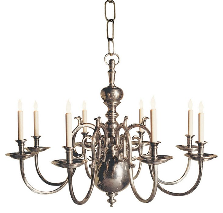 18th-Century 8-Light Chandelier, Nickel