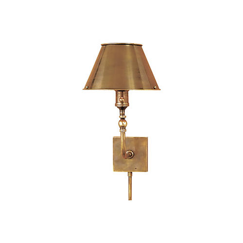 Swivel-Head Wall Lamp, Antiqued Brass