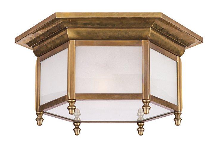 Hexagonal 2-Light Flush Mount, Brass