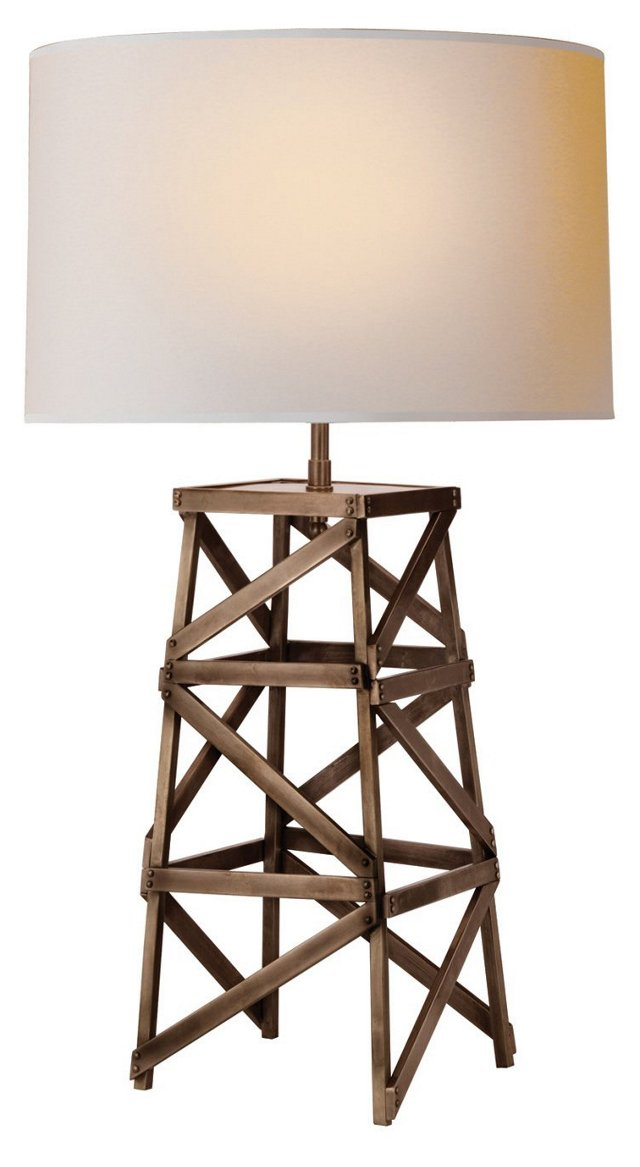 Derrick Tower Table Lamp, Aged Iron