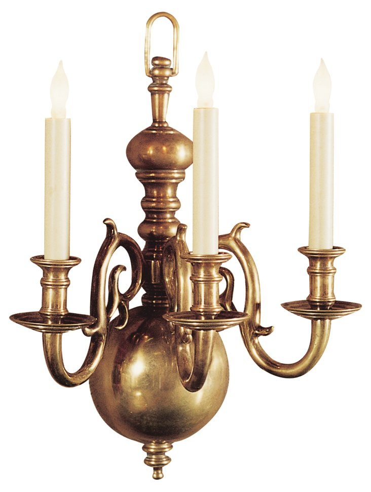 18th Century Three-Light Sconce, Brass