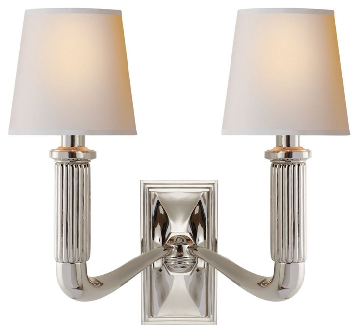 Gallois Two-Arm Sconce, Polished Nickel