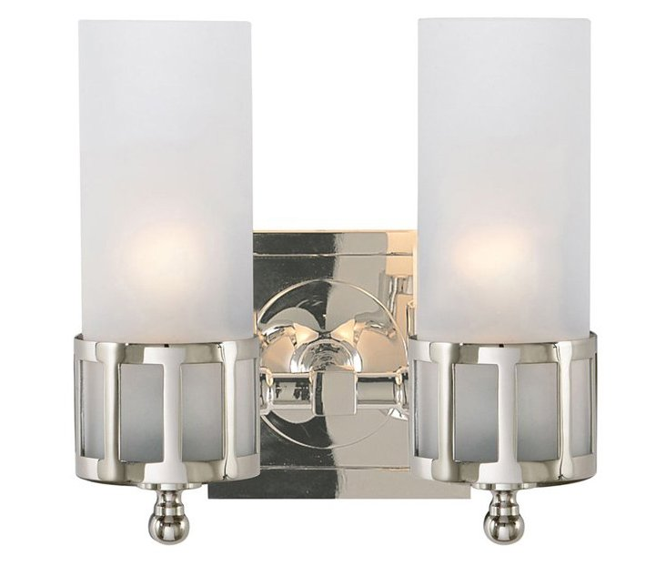 Openwork Double Sconce, Polished Nickel