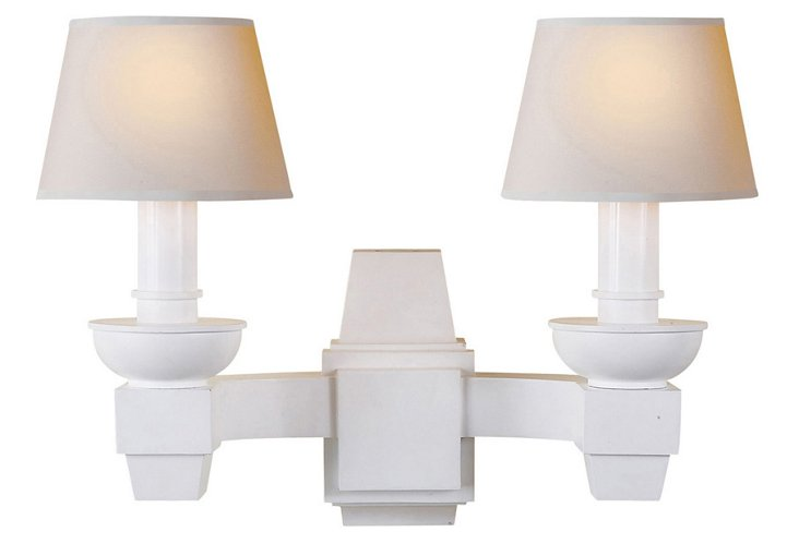 Serge Double Sconce, White