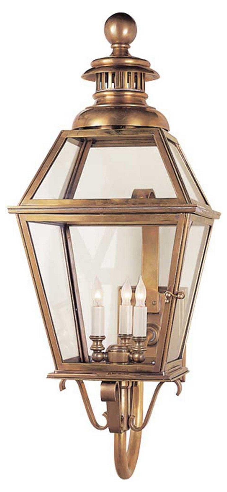 Chelsea 3-Light Wall Lantern, Brass