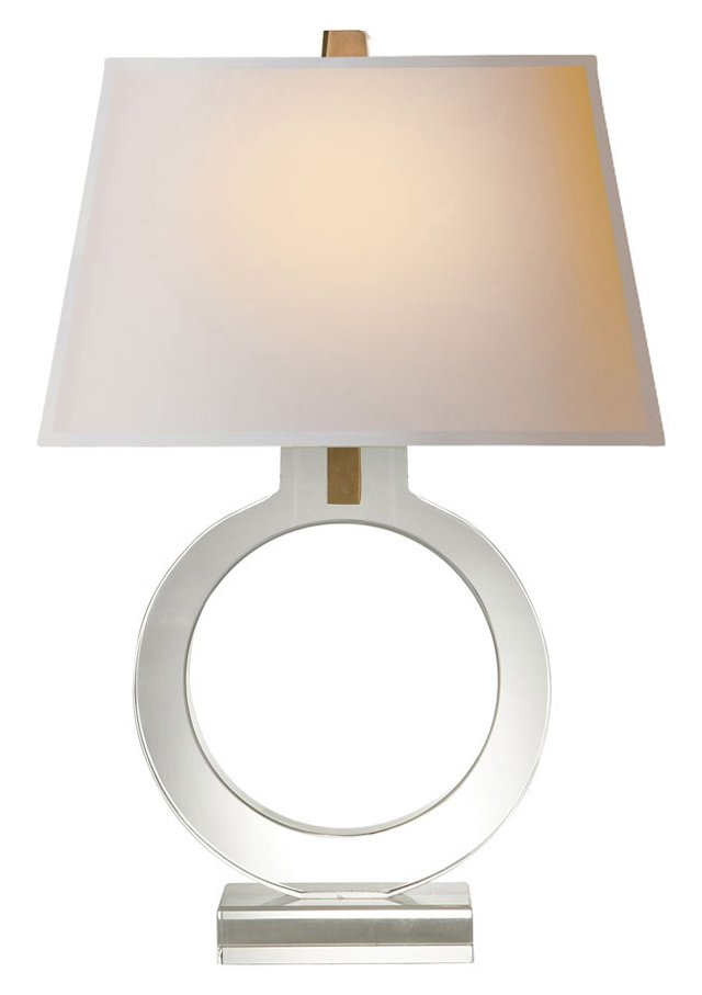 Small Ring Form Table Lamp, Crystal