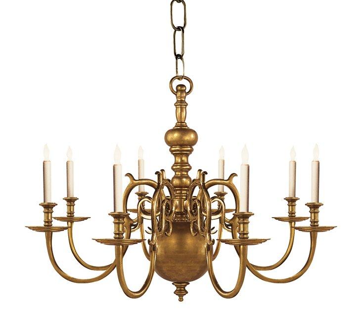 18th Century 8-Light Chandelier, Brass