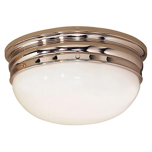Crown Large Flush Mount, Polished Nickel
