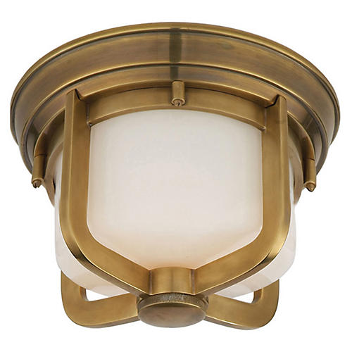 Short Milton Flush Mount, Antiqued Brass