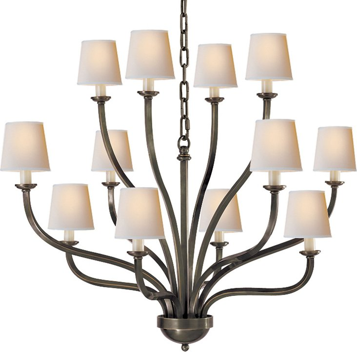 Normandy Chandelier, Bronze